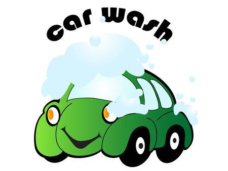 Cartoon car with car wash sign - vector illustration Stock Vector - 5655741