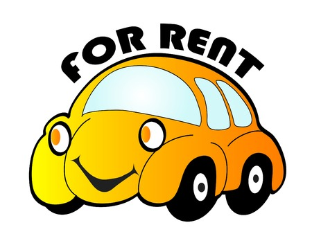 for rent: Cartoon car for rent - vector illustration
