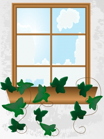 Window with ivy Stock Vector - 5681888