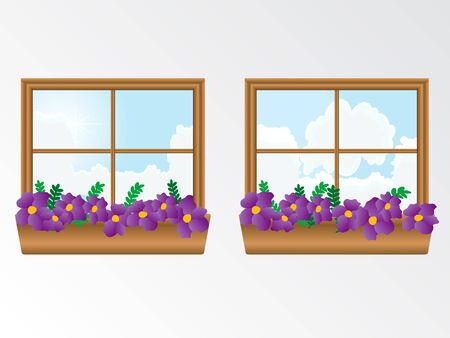 vista ventana: Ventana con flores Vectores