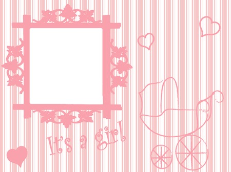 Baby arrival card in pink Vector