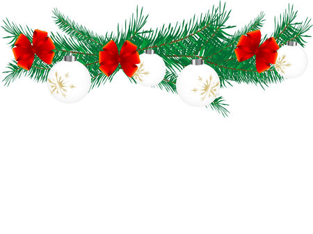 advent wreath: Christmas garland with balls - vector illustration