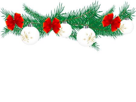 adventskranz: Weihnachten-Girlande mit Kugeln - Vektor-illustration  Illustration