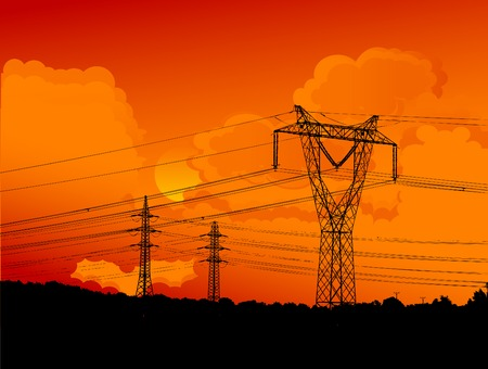 telephone pole: Electric main on the cloudy sunset background Illustration