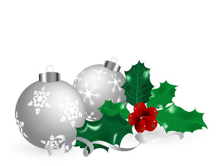 Christmas balls and holly - vector illustration Vector