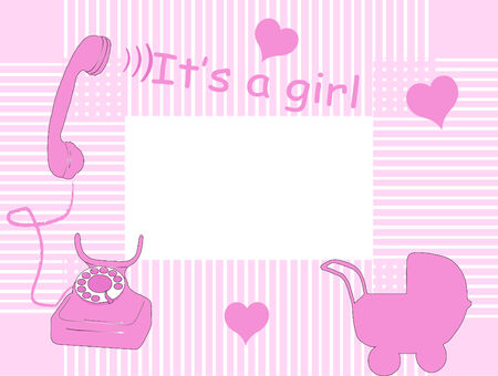 Baby arrival card in pink Stock Vector - 5859238