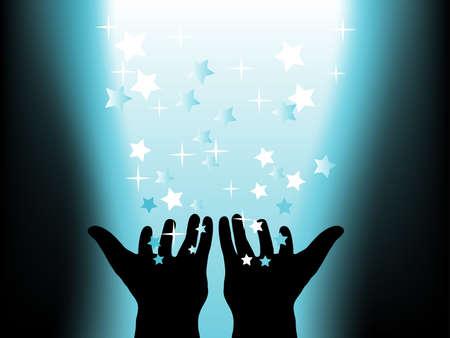 fantasize: Fondo m�gico abstracto con las manos  Vectores