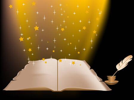fantasize: Resumen de antecedentes con el libro de magia Vectores