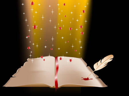 Abstract magic background with book