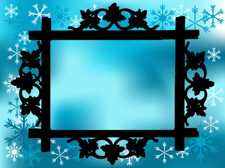 Photo frame with christmas background Vector
