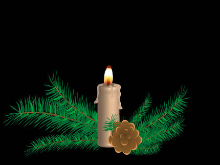 Vector christmas background with candle Stock Vector - 5897742