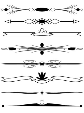 Decorative borders in black and white color