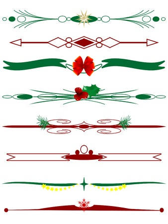 christmas scroll: Christmas borders in red and green Illustration