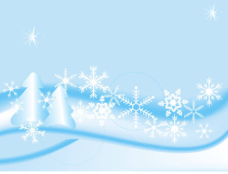 Blue winter landscape - vector illustration Stock Vector - 5957200