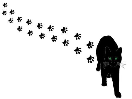 silueta tigre: Gato negro y patas - ilustraci�n vectorial