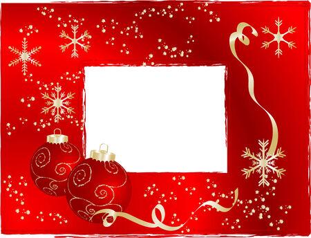 Red christmas frame - illustration Vector
