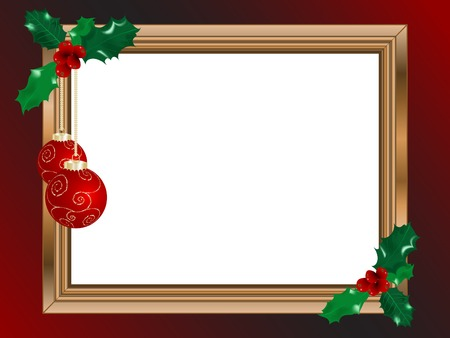 Wooden christmas frame - illustration Vector