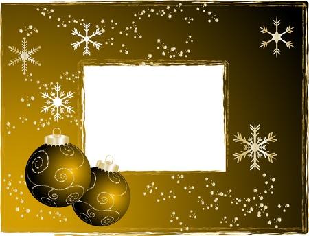Black and gold christmas frame - illustration Vector