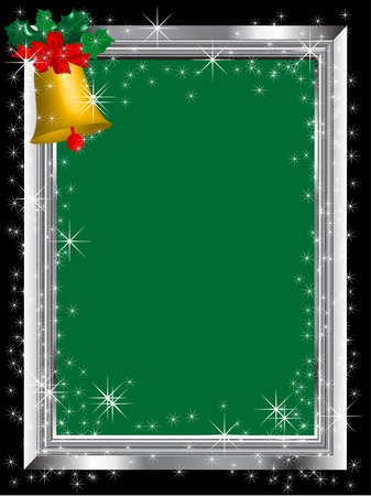Silver frame with bell - vector illustration Vector