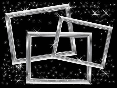 Three silver frames - vector illustration Vector
