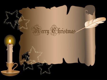 Telaio di Natale con candela - illustrazione vettoriale