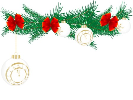midnight hour: Christmas balls with New Year clock - vector illustration