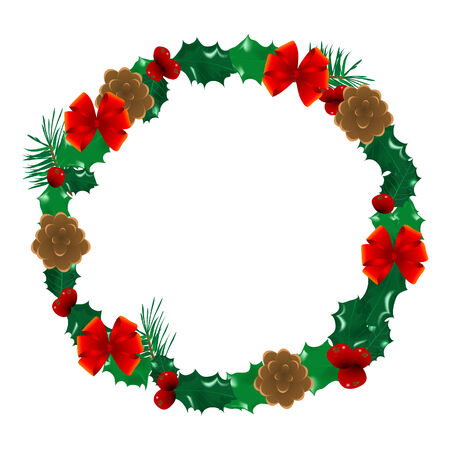 Christmas holly wreath  - vector illustration Vector