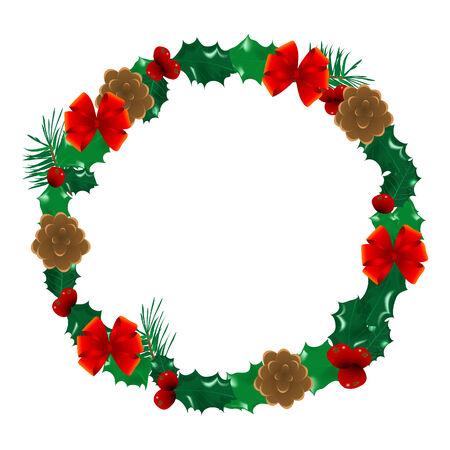 Christmas holly wreath  - vector illustration Stock Vector - 6074996