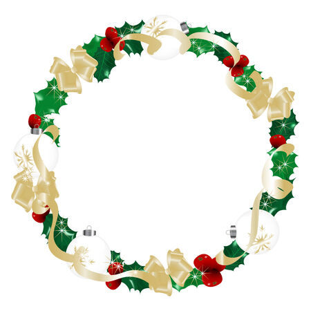 Christmas golden wreath  - vector illustration Vector