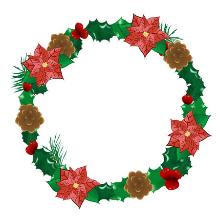 Christmas wreath with flowers - vector illustration Stock Vector - 6081190