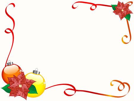 Christmas border with flower - vector illustration Stock Vector - 6081192