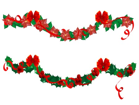 Christmas flower garlands - vector illustration Vector