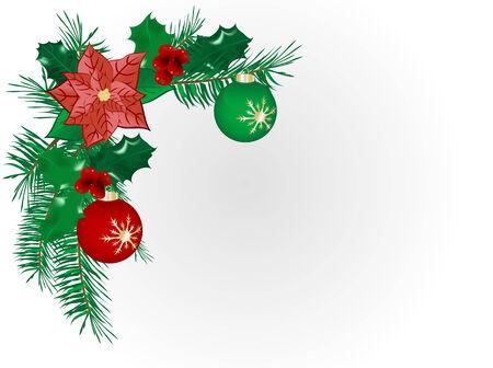 Christmas flower border - vector illustration
