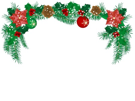 christmas flower: Christmas flower garland - vector illustration