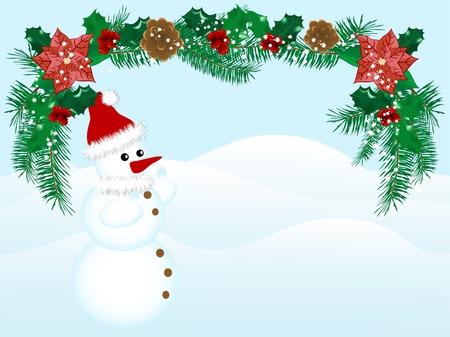 Christmas garland and snowman - vector illustration Vector