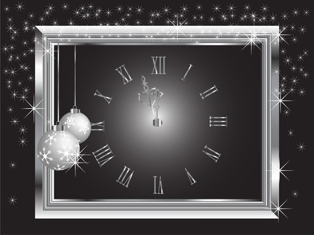 Silver New Year clock - vector illustration Vector