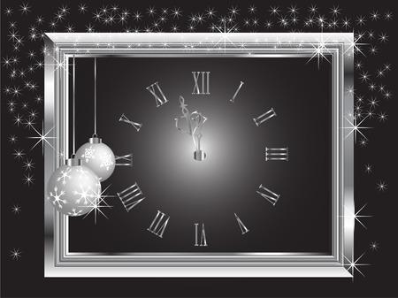 midnight hour: Silver New Year clock - vector illustration