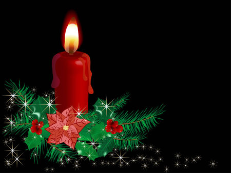 Christmas candle with flower - vector illustration Vector