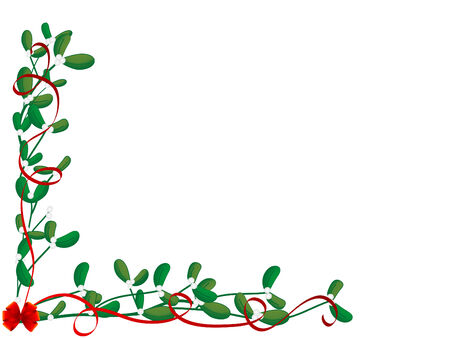 mistletoe: Christmas green mistletoe - vector illustration