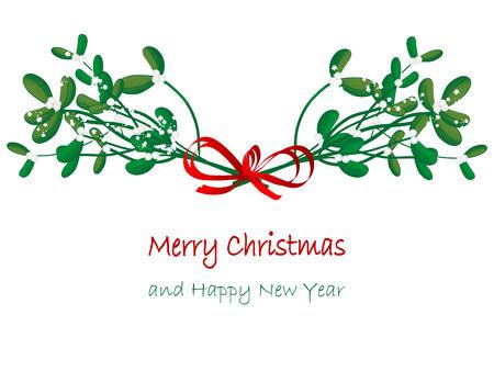 Christmas green mistletoe - vector illustration