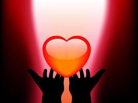 fantasize: Abstract heart in hands - vector illustration Illustration