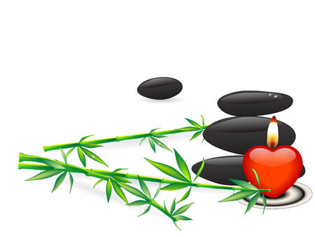 Stones,bamboo and candle - vector illustration Vector