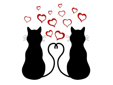 cat illustration: Silhouettes of two cats in love illustration Illustration