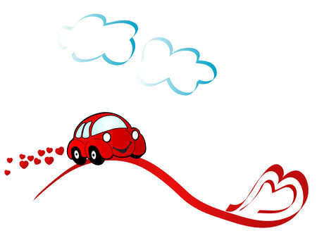 Red car and clouds - illustration Vetores