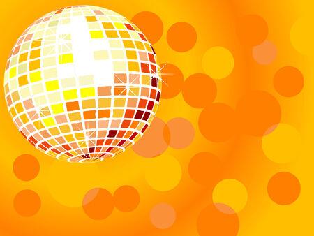 Orange disco ball -  illustration Vector