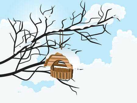Nesting box in winter illustration Vector