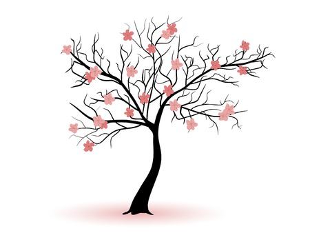 cherry wood: Spring cherry tree silhouette