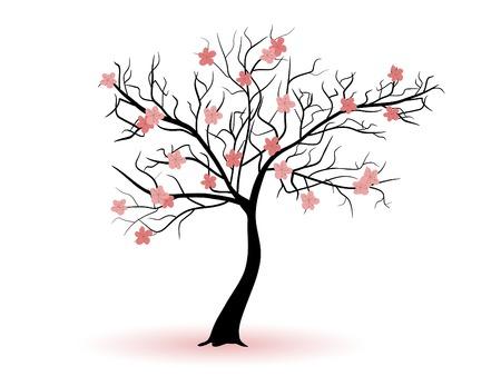 black cherry tree: Spring cherry tree silhouette