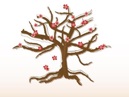 Spring cherry tree silhouette Vector