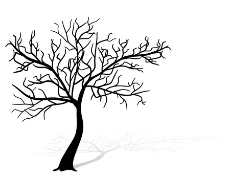 cherry wood: Black tree silhouette
